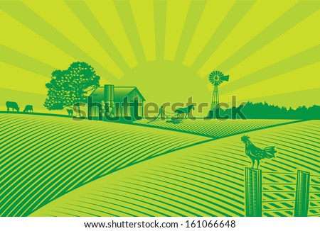 Organic farming silhouette in woodcut style, vector