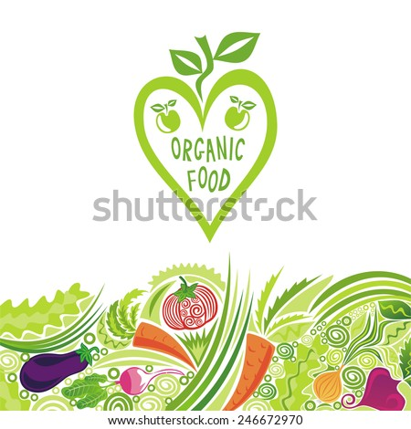 Organic food colorful vegetables vector illustration - stock vector