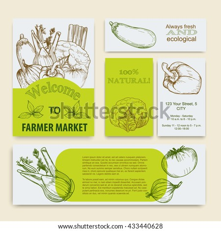 Organic food concept brochure and flyer template.