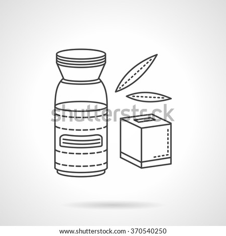 Organic food concept. Natural nutrition and drinks for baby. Juice and tea, yogurt. Vector icon flat thin line style. Element for web design, business, mobile app.  - stock vector
