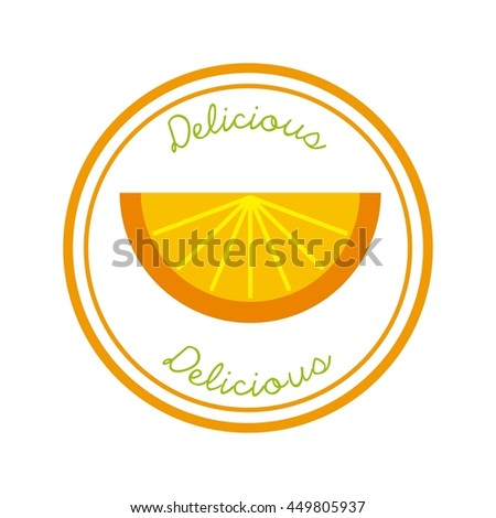 Organic food concept represented by orange icon over circle. Colorfull and flat illustration.