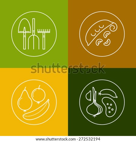 Organic food, eco, bio farming, green labels and icons set. Set of flat design icons and elements in outline style - stock vector
