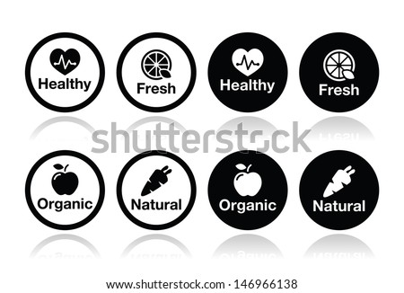 Organic food, fresh and natural products icons set  - stock vector