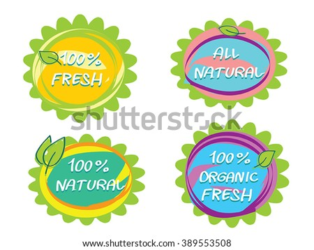 Organic food funny headliners  - set vector hand drawn sticker labels - eco bio healthy food logo label templates with leaf. As stickers, tags, company branding element. Childish organic food badges.