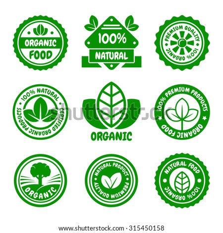 Organic Food Green Labels Set. Vector