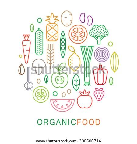 Organic food icons. Vegetarian menu set. Linear style. Vector illustration.  - stock vector