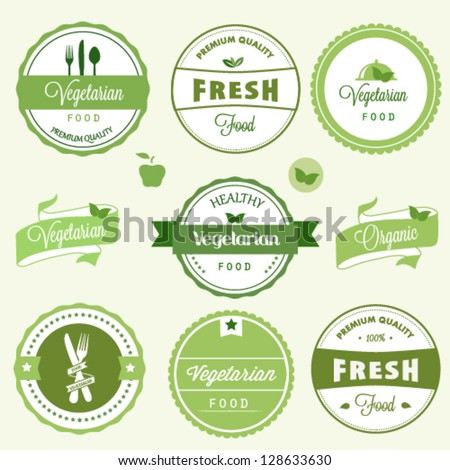 Organic food labels - stock vector