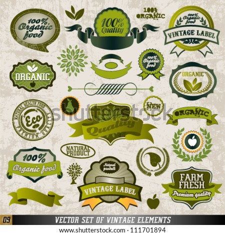 Organic Food Labels and Vector Elements. Graphic Design Editable For Your Design. - stock vector