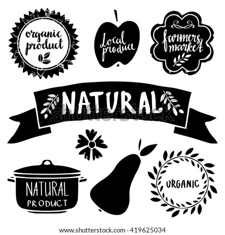 Organic food labels set, black silhouettes, bio, eco farm stickers, stamps, icons, logo, frames, card design isolated calligraphic text, hand drawn