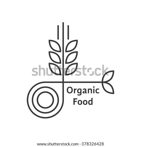 organic food logo with thin line wheat ears. concept of rice, gluten, bio, herbal badge, brewery, bakery mark. isolated on white background. flat style trend modern brand design vector illustration - stock vector
