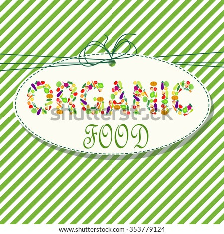 Organic food - logo with vegetables on colorful background - stock vector