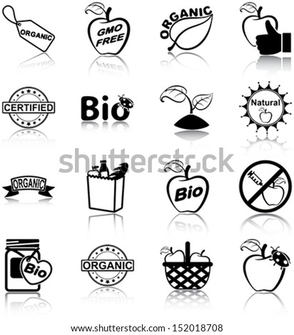 Organic food related icons/ silhouettes. - stock vector
