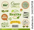 Organic Food  Vintage icon Vector Set. Graphic Design Editable For Your Design. - stock vector