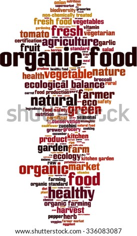 Organic food word cloud concept. Vector illustration