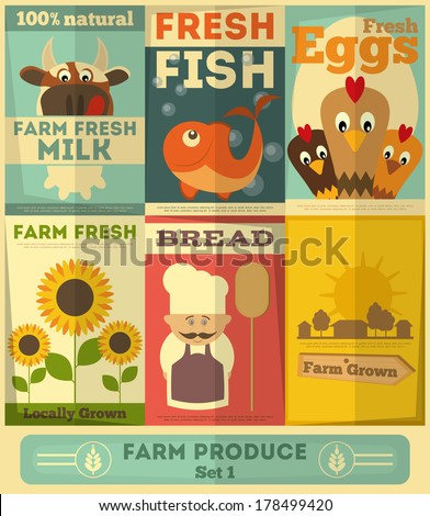Organic Fresh Farm Food Posters Set. Retro Placard in Flat Design Style. Vector Illustration. - stock vector