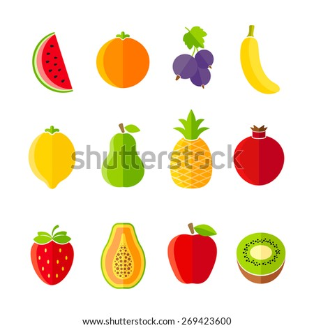 Organic fresh fruits and berries icon set flat design - stock vector