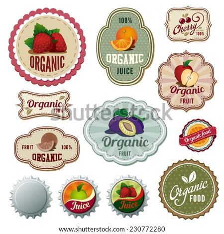 Organic Fresh Fruits Vintage Labels design vector templates. Drinks, Bar Menu, Shop Natural concept icons. - stock vector
