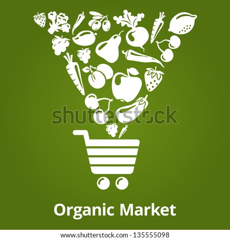 Organic fruits and vegetables falling into the shopping cart. Vector illustration. Organic market - stock vector
