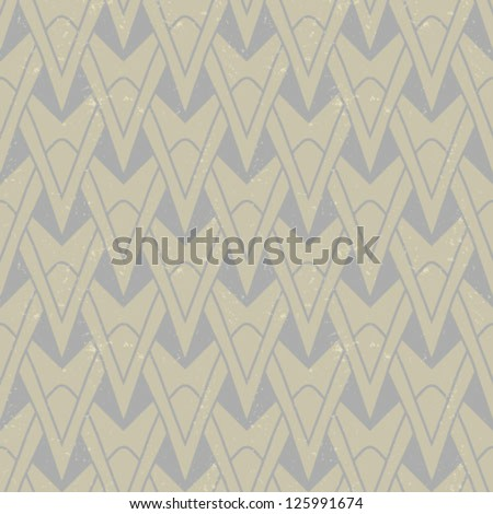 organic geometric art deco pattern in beige colors, seamless vector background on paper texture. Ornament for print, textile, wallpaper, vintage decor. Concept of history, heritage. - stock vector