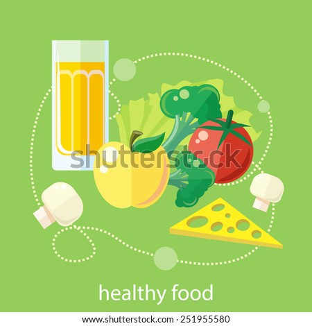 Organic health food products in flat design. Green healthy life concept icons. - stock vector