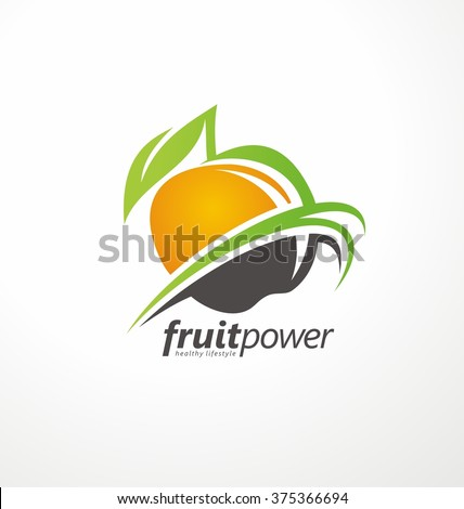 Organic Health Food vector symbol concept. Fruit and Vegetable emblem layout. Nutrition and Diet unique logo design idea. Green Healthy Life creative icon.  - stock vector