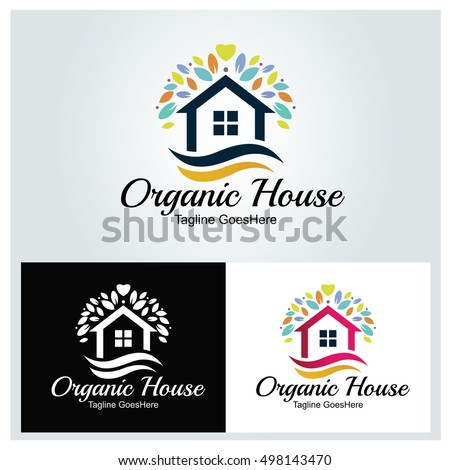 Organic House Logo Design Template ,Home Logo ,House Care Logo ,Home Clean  Logo