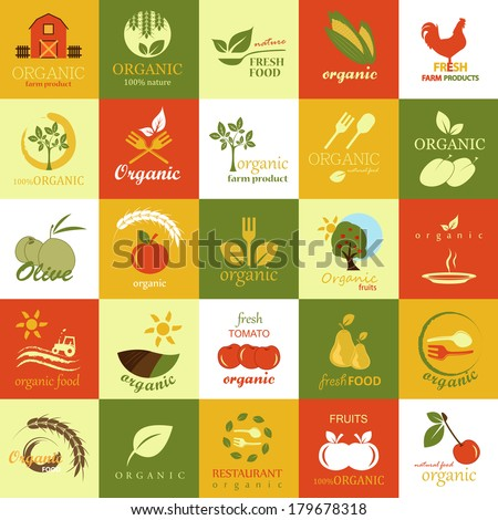 Organic Icons Set - Isolated On Background - Vector Illustration, Graphic Design Editable For Your Design, Food Concept  - stock vector