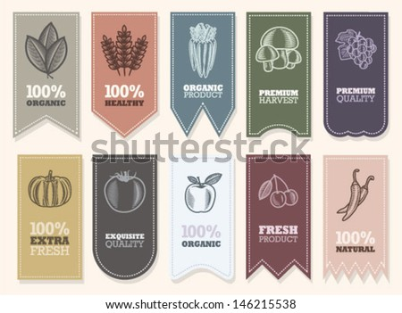 Organic label with green vegetables. - stock vector