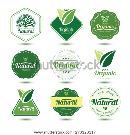 Organic labels and badges with green leave , vector illustration
