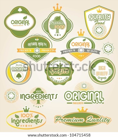 Organic labels and elements - stock vector