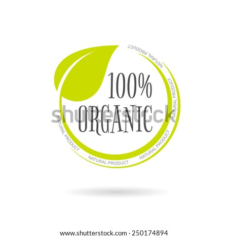 Organic product emblem on white background. Vector illustration - stock vector