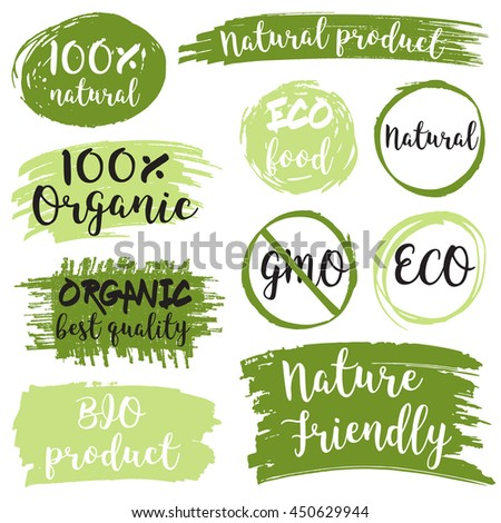 Organic product 100% natural green signs set. Vector illustration. - stock vector