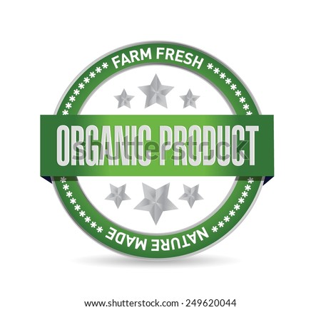 organic product seal sign illustration design over a white background - stock vector