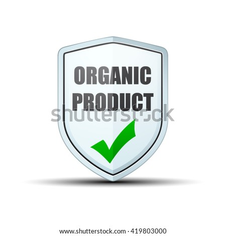 Organic Product shield sign - stock vector