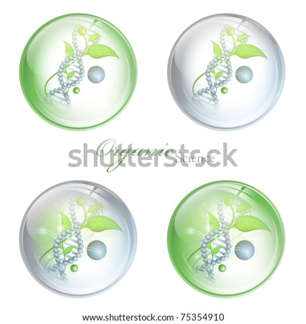 Organic Science glossy balls with DNA and green leaves over white background - stock vector