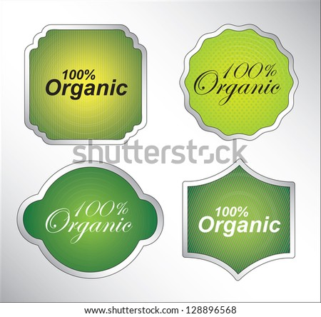 Organic seal over white background vector illustration - stock vector