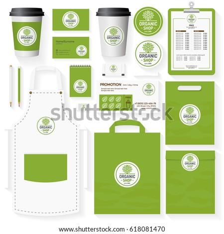 organic food brading mock template logo stock vector 478681507