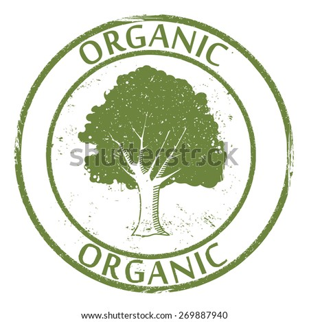 Organic stamp with a tree, vector illustration - stock vector