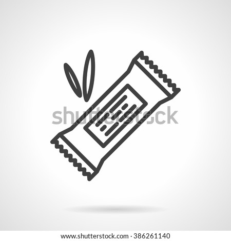 Organic sweets. Cereal energy or protein bar in pack with abstract label. Vector icon simple black line style. Single design element for website, business. - stock vector