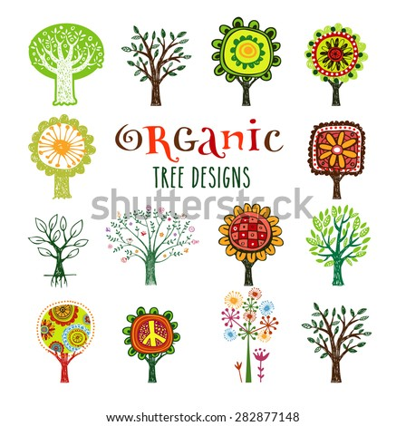 Organic trees vector design elements. - stock vector