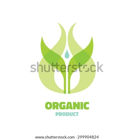 Organic - vector logo concept illustration. Ecology logo. Leafs logo. Bio logo. Nature logo. Agriculture logo. Sprouts, leaves and water drop. Vector logo template. Design element. - stock vector