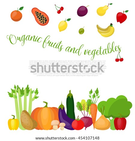 Organic vegetables and fruits background with place for your text.. Vector illustration