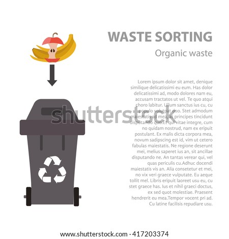 Organic waste sorting flat concept.  Vector illustration of organic waste. Organic waste recycling categories and garbage disposal.  Organic waste types sorting management . - stock vector