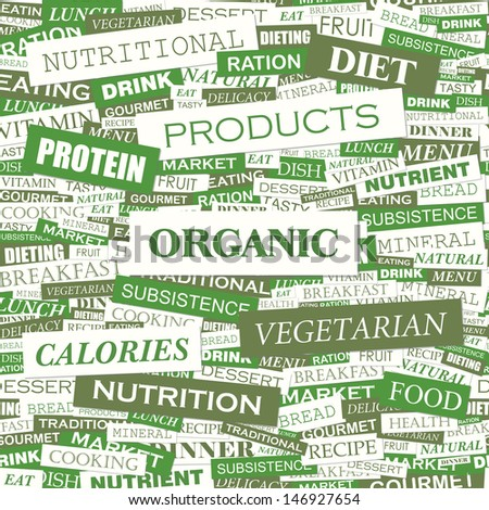ORGANIC. Word cloud illustration. Tag cloud concept collage. Vector text illustration.  - stock vector