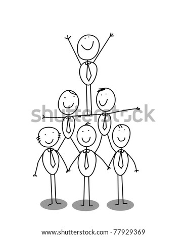 organitation chart teamwork - stock vector