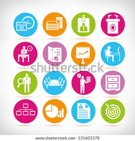 organization and business management icon set - stock vector