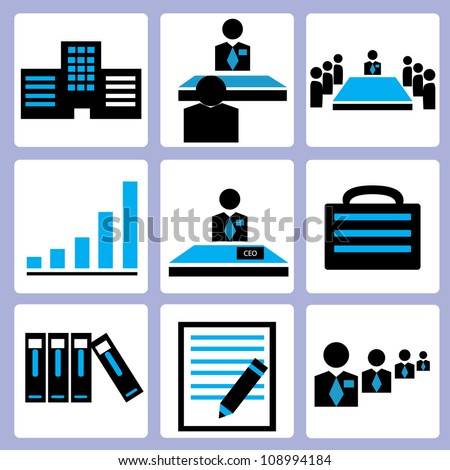 organization and office icon set, vector - stock vector
