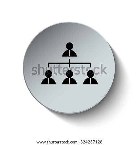 Organization chart icon. Management and human resources icon. Hierarchy icon. Rounded button. Vector Illustration. EPS10 - stock vector