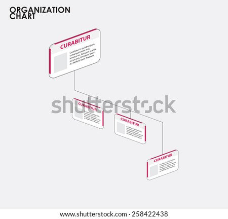 Organization chart infographics with tree, Dimention flow chart. vector illustration,  - stock vector