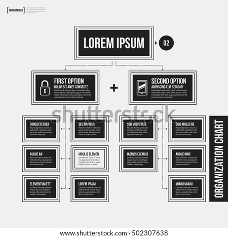 Organization chart template with geometric elements on white background. Useful for science and business presentations.